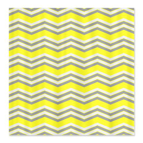 Zigzag Yellow Grey and White Shower Curtain