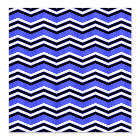 Zigzag Blue, Black and White Shower Curtain