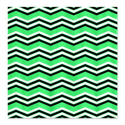 Zigzag Green, Black and White Shower Curtain