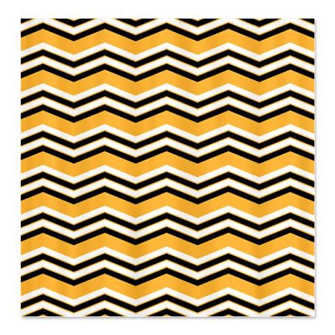 Zigzag Orange, Black and White Shower Curtain