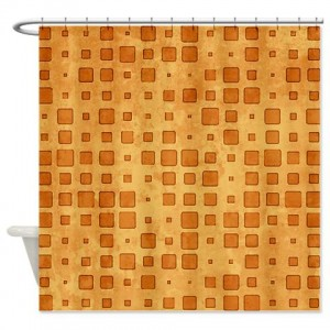 Amber And Beige Abstract Art 50 Shower Curtain