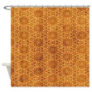 Amber And Beige Abstract Art 55 Shower Curtain
