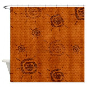 Amber And Beige Abstract Art 61 Shower Curtain