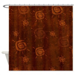 Amber And Beige Abstract Art 63 Shower Curtain