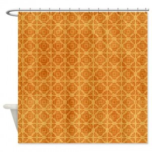 Amber And Beige Abstract Art 64 Shower Curtain