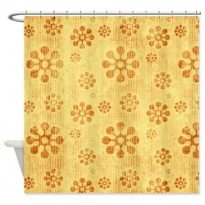 Amber And Beige Abstract Art 65 Shower Curtain