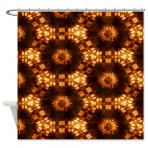 Amber And Brown Abstract Art 34 Shower Curtain