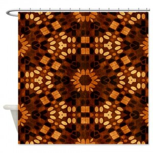 Amber And Brown Abstract Art 43 Shower Curtain