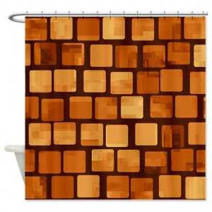 Amber And Brown Abstract Art 47 Shower Curtain
