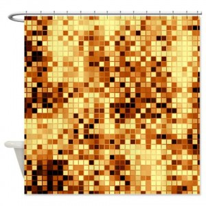 Amber And Brown Abstract Art 77 Shower Curtain