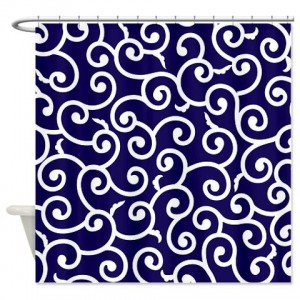 Batik 2a Blue Shower Curtain