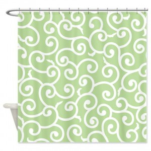 Batik 2a Green Shower Curtain