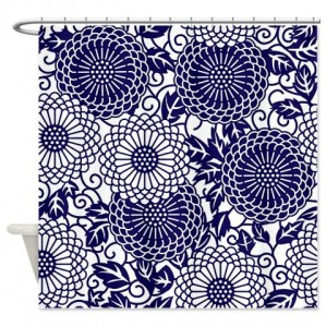 Batik 2c Blue Shower Curtain