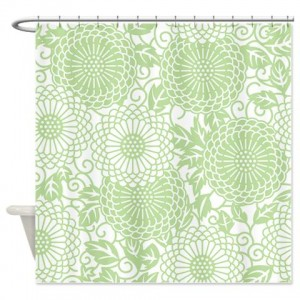 Batik 2c Green Shower Curtain