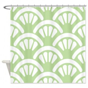 Batik 2d Green Shower Curtain