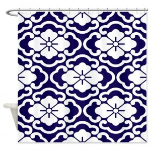 Batik 2e Blue Shower Curtain
