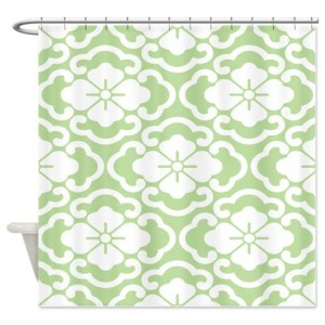 Batik 2e Green Shower Curtain