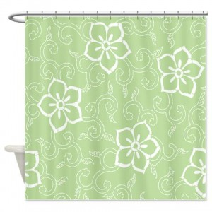 Batik 2h Green Shower Curtain