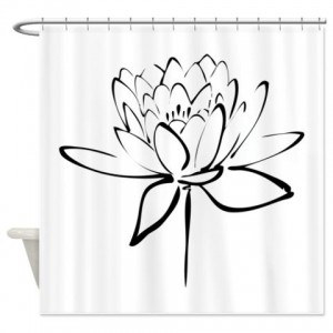 Black Lotus Calligraphy Print Shower Curtain