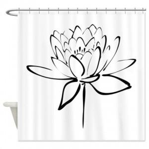 Black Lotus Calligraphy Print Shower Curtain