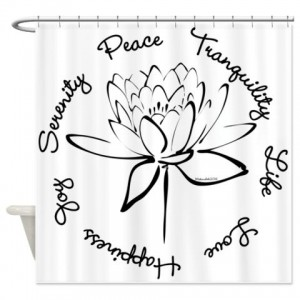 Lotus-Black Shower Curtain