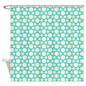 Blue and Beige Pattern 2 Shower Curtain