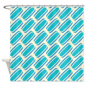 Blue and Beige Pattern 3 Shower Curtain