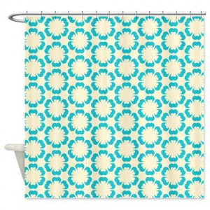 Blue and Beige Pattern 4 Shower Curtain
