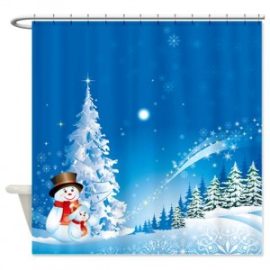 Blue Christmas Snowman Scene Shower Curtain