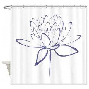 Lotus Calligraphy Print-Blue Shower Curtain