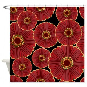 Bold Oriental Flowers on Black Shower Curtain