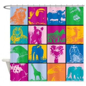 Cute Animal Blocks Shower Curtain