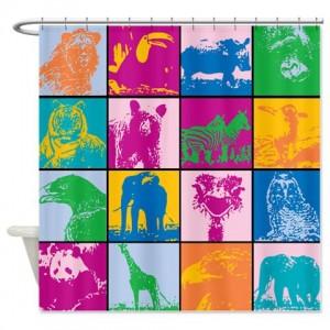 Cute Animal Blocks Shower Curtain