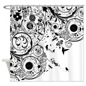 Floral Grunge Swirl 3 Shower Curtain