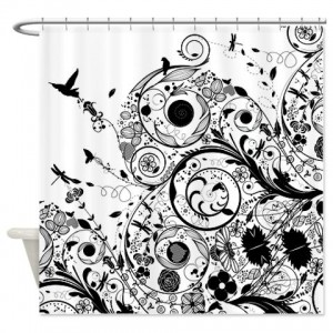 Floral Grunge Swirl 4 Shower Curtain