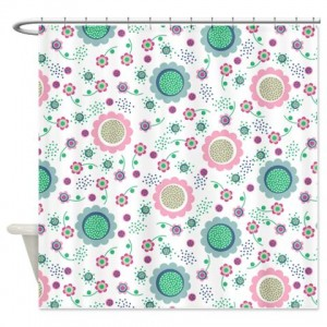 Flower Power Pattern Shower Curtain