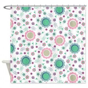 Flower Power Pattern Shower Curtain