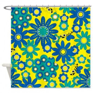 Flowers Bees Shower Curtain