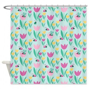 Flowers Beetles Shower Curtain