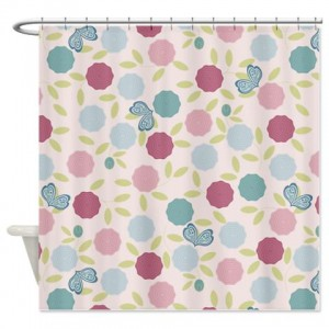 Flowers Butterflies 1 Shower Curtain