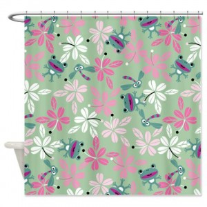 Frog And Dragonfly Shower Curtain