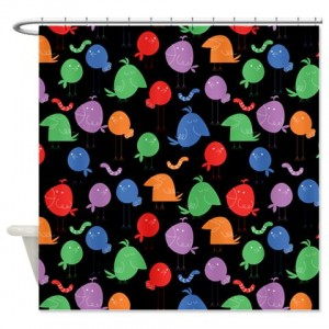 Fun Colorful Bird Pattern Shower Curtain