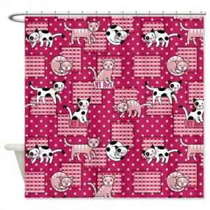 Kitty Cat polka dot and checkers pattern Shower Cu