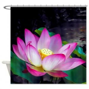 Lotus Blossom Watercolor Shower Curtain