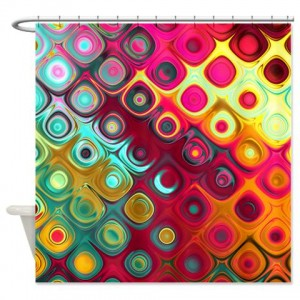 Magenta Rainbow Abstract Art 15 Shower Curtain
