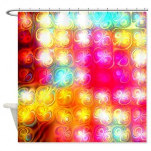 Magenta Rainbow Abstract Art 16 Shower Curtain