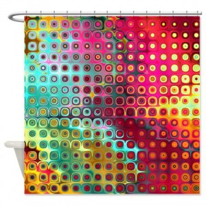 Magenta Rainbow Abstract Art 17 Shower Curtain