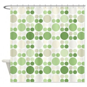 Modern Green Polka Dot Pattern Shower Curtain