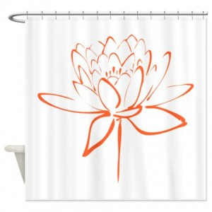 Lotus Calligraphy Print-Orange Shower Curtain