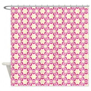Pink and Beige Pattern 2 Shower Curtain